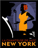 La Chanteuse de Jazz Mounted Print by Johanna Kriesel