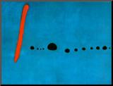 Joan Miró - Modrá II, c. 1961 Reprodukce aplikovaná na dřevěnou desku