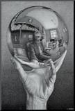 Hand with Globe Kunstdruk geperst op hout van M. C. Escher