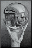 Hand with Globe Mounted Print by M. C. Escher