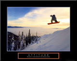Attitude: Snow Boarder Mounted Print