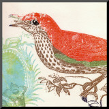 Red Bird Mounted Print by Swan Papel