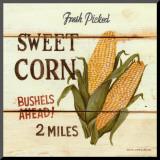 David Carter Brown - Fresh Picked Sweet Corn Reprodukce aplikovaná na dřevěnou desku
