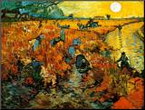 Vincent van Gogh - Červené vinice v Arles, c. 1888 Reprodukce aplikovaná na dřevěnou desku