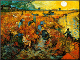 De rode wijngaard bij Arles, ca.1888 Kunstdruk geperst op hout van Vincent van Gogh