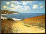 Chemin Dans les Bles à Pourville, 1882 Kunstdruk geperst op hout van Claude Monet