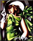 Jeune Fille Vert Mounted Print by Tamara de Lempicka