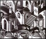 Concave et convexe Affiche montée sur bois par M. C. Escher