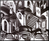 Concavo e convexo Impressão montada por M. C. Escher