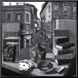 Nature morte et rue Affiche montée sur bois par M. C. Escher