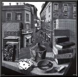 Stilleven met straat op achtergrond Kunstdruk geperst op hout van M. C. Escher