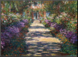 Claude Monet - Zahrada v Giverny Reprodukce aplikovaná na dřevěnou desku