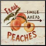 David Carter Brown - Fresh Peaches Reprodukce aplikovaná na dřevěnou desku