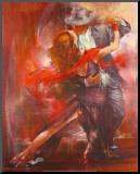 Argentijnse Tango II Kunst op hout van Pedro Alvarez