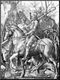 The Knight, Death and The Devil , c.1514 Impressão montada por Albrecht Dürer