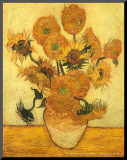 Vase of Fifteen Sunflowers, c.1889 Mounted Print by Vincent van Gogh