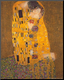 De Kus, ca.1907 Kunst op hout van Gustav Klimt