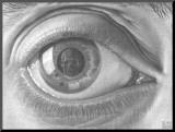 Oeil Affiche montée sur bois par M. C. Escher