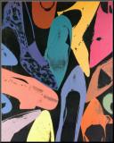 Zapatos de polvo de diamante, 1980, lila, azul, verde Lámina montada en tabla por Andy Warhol