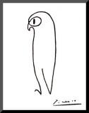 Eule Druck aufgezogen auf Holzplatte von Pablo Picasso