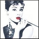 Audrey Hepburn Mounted Print by Bob Celic