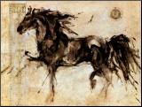 Zwart paard Lepa Zena Kunstdruk geperst op hout van Marta Gottfried