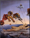Drøm forårsaket av en bies flukt, ca. 1944|Dream Caused by the Flight of a Bee, c.1944 Montert trykk av Salvador Dalí