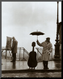 Musician in the Rain Mounted Print by Robert Doisneau
