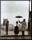 Muzikant in de regen Kunstdruk geperst op hout van Robert Doisneau