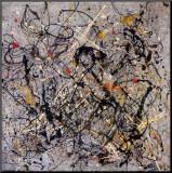 Jackson Pollock - Číslo 18, 1950 (Number 18, 1950) Reprodukce aplikovaná na dřevěnou desku