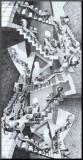 M. C. Escher - Dům se schodišti Reprodukce aplikovaná na dřevěnou desku