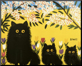 Three Black Cats Mounted Print by Maud Lewis