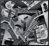 Relatividad Lámina montada en tabla por M. C. Escher