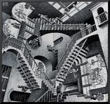 Relativiteit Kunstdruk geperst op hout van M. C. Escher