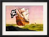 Pirate Ship with Sails All Set, c.1930 Posters by Anton K. Skillin