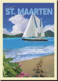 Cruise St. Maarten Stretched Canvas Print by Kem Mcnair