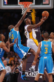 New Orleans Hornets v Los Angeles Lakers - Game One, Los Angeles, CA - April 17: Kobe Bryant and Em Photographic Print