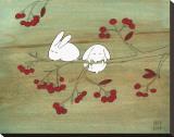Rabbits on Berry Tree Sträckt Canvastryck av Kristiana Pärn