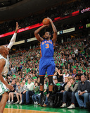 New York Knicks v Boston Celtics - Game One, Boston, MA - April 17: Shawne Williams and Ray Allen Photographic Print