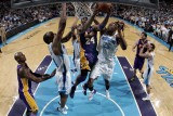 Los Angeles Lakers v New Orleans Hornets - Game Four, New Orleans, LA - April 24: Kobe Bryant, Carl Photographic Print