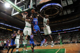 New York Knicks v Boston Celtics - Game One, Boston, MA - April 17: Amar'e Stoudemire, Jermaine O'N Photographic Print