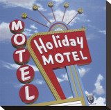 Holiday Motel Stretched Canvas Print by Anthony Ross