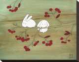 Rabbits on Berry Tree Stretched Canvas Print by Kristiana Pärn