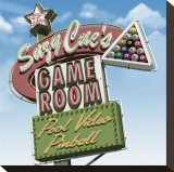 Suzy Cue's Game Room Sträckt Canvastryck av Anthony Ross
