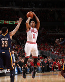 Indiana Pacers v Chicago Bulls - Game Two, Chicago, IL- April 18: Derrick Rose and Danny Granger Photographic Print