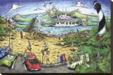 Lighthouse Beach Break Stretched Canvas Print by  BOGY (Aaron Bogushefsky)