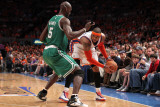 Boston Celtics v New York Knicks - Game Four, New York, NY - April 24: Carmelo Anthony and Kevin Ga Photographic Print