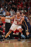 Indiana Pacers v Chicago Bulls - Game Two, Chicago, IL- April 18: Carlos Boozer and Josh McRoberts Photographic Print