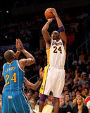 New Orleans Hornets v Los Angeles Lakers - Game One, Los Angeles, CA - April 17: Kobe Bryant and Ca Photographic Print