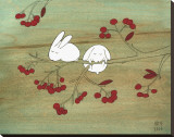 Rabbits on Berry Tree Reproduction transférée sur toile par Kristiana Pärn